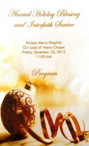Annual Holiday Blessing and Interfaith Service Scripps Mercy Hospital
